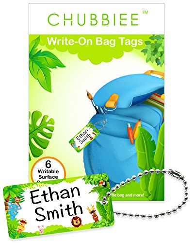 Child ID Bag Tags, Write-On Kids Name Tags for Backpacks, Lunchboxes & Diaper Bags, Great for Preschool & Daycare, Pack of 6 (Green ()