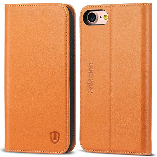 iPhone 8 Case, iPhone 7 Case, SHIELDON Genuine Leather Wallet Flip Book Design Case with Kickstand [Credit Card Slots] [Magnetic Closure] [TPU Shockproof Interior Case] for iPhone 7 / 8 (2017) - Brown (Leather Flip Case)