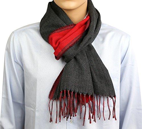 100 % laine Col écharpe pour hommes lumière douce 30 x 180 cm,, 130 grammes, noir et rouge chaude
