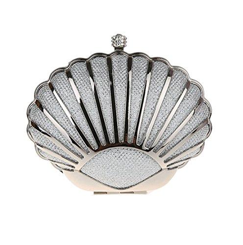 de Sac main Argent Femmes dembrayage Dunland mode concepteur à Mini Shell agBq6Sw4