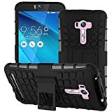 SDO™ Dual Layer Hybrid Military Kickstand Case Back Cover for ASUS Zenfone Selfie ZD551KL (Black)