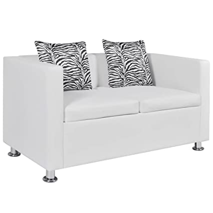 VidaXL Modern White Artificial Leather Sofa 2 Seater Living Room Furniture  W/2 Pillows