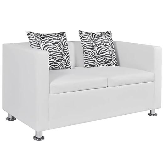 vidaXL Sofá Moderno de 2 Plazas Cuero Artificial Blanco Sillón de Salón Casa