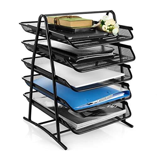 DAHSHA 5 Tier Mesh Metal Desk Organiser File Rack Letter Tray A4 Papers Documents Holder Desk Organizer for Office- 35 x 37 x 28 cm