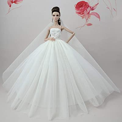 Zehui Wedding Dress Evening Party Gown Long Tutu Dress with Long Veil for 30cm Dolls,Xmas Gift for Little Girls (Without Dolls): Toys & Games