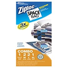 Ziploc Space Bags Reusable Vacuum Seal Combo Pack- 6 Piece Set