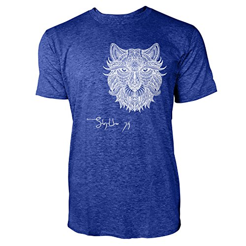 SINUS ART ® Löwenkopf im Ethno Look Herren T-Shirts in Vintage Blau Cooles Fun Shirt mit tollen Aufdruck