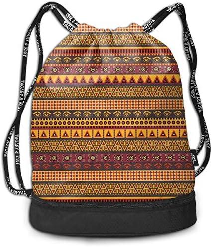 Multipurpose Drawstring Bag for Men & Women, African American Girl Singing with Saxophone Player Popular Sound Design,Tote Sack Large Storage Sackpack for Gym Travel Hiking
