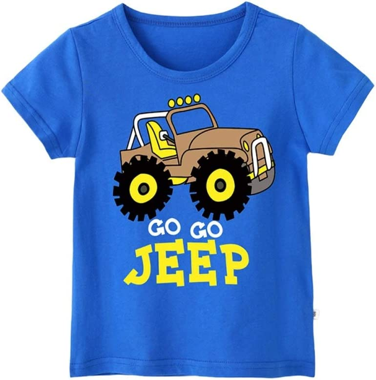 3-8T Eveliyning Unisex Kids Round Collar Top Casual Summer Playwear Short Sleeve Cotton Top with Cute Jeep Printing Design Babyboy Babygirl Fashion Wild Boys Sport Bottoming Tee