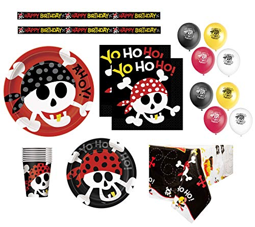 Pirate Birthday Party Supplies Pack for 16 Guests Including: Dinner Plates, Dessert Plates, Napkins, Cups, Birthday Banner, Balloons & Table -