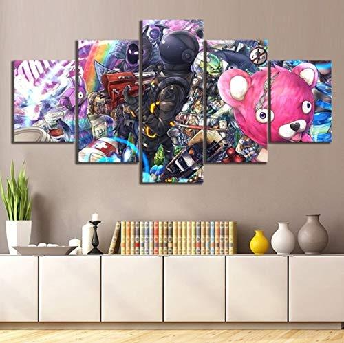 - sansiwu X 5 Piece Fortnight Battle Royale Cuddle Team Leader Dark Voyager Raven Fort Game Poster Nite Wall Art for Living Room Decor
