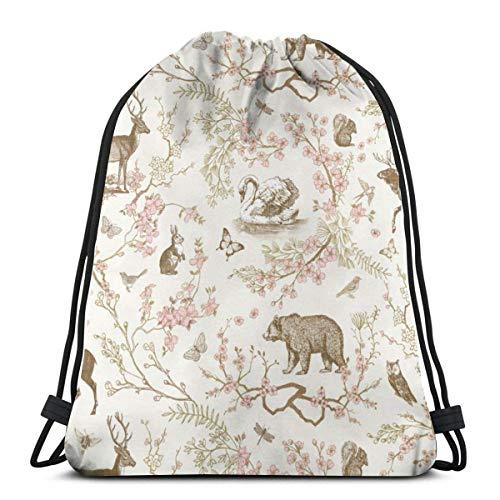 (jiebokeji Woodland Spring Toile (Sepia)_5461 3D Print Drawstring Backpack Rucksack Shoulder Bags Bag for Adult 16.9