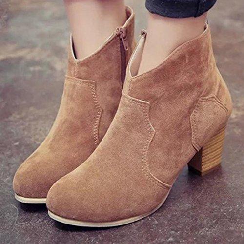 Las botas de cilindro corto Ouneed Martin mujeres Caqui tacones Mujer Botas moda tobillo botas fFEq4xx