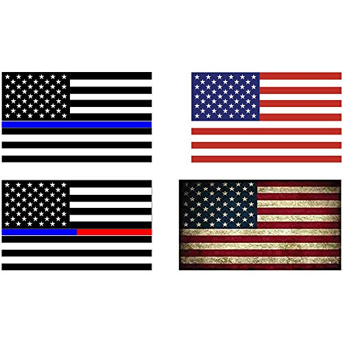 Thin Blue Line USA Flag Sticker,4PCS American Flag Sticker, Rustic American Flag Decal,Black, Gray,Red & Blue for office,cars - Gray Car Flag
