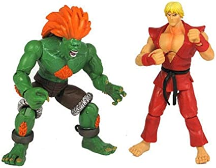 Amazon Com Street Fighter 4 Inch Action Figure Ken Vs Blanka