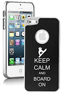 Apple iPhone 4 4s Aluminum Plated Chrome Hard Back Case Cover Keep Calm and Board On Snowboard (Black)