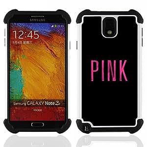 """SAMSUNG Galaxy Note 3 III / N9000 / N9005 - 3 en 1 impreso colorido de Altas Prestaciones PC Funda chaqueta Negro cubierta gel silicona suave (Pink Love Negro Music artista minimalista"""")"""