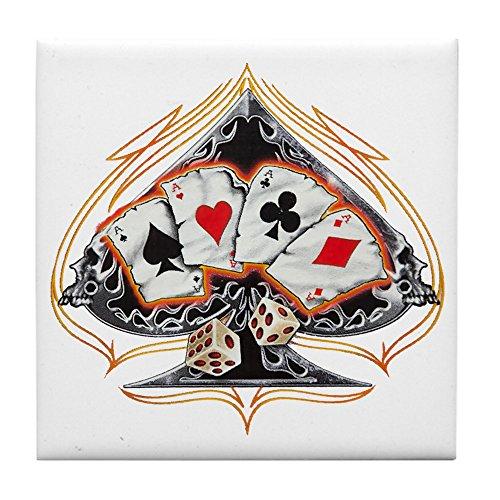 Tile Coaster (Set 4) Four of a Kind Poker Spade ()
