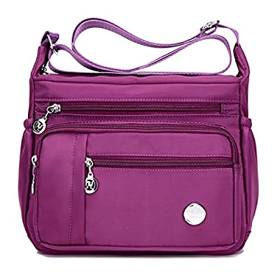 Waterproof Nylon Shoulder Crossbody Bags - Adjustable Shoulder Strap Handbag Multiple Zippered Elastic Pockets with Organizer fors Wallet, Passport, Boarding Pass, Water Resistant