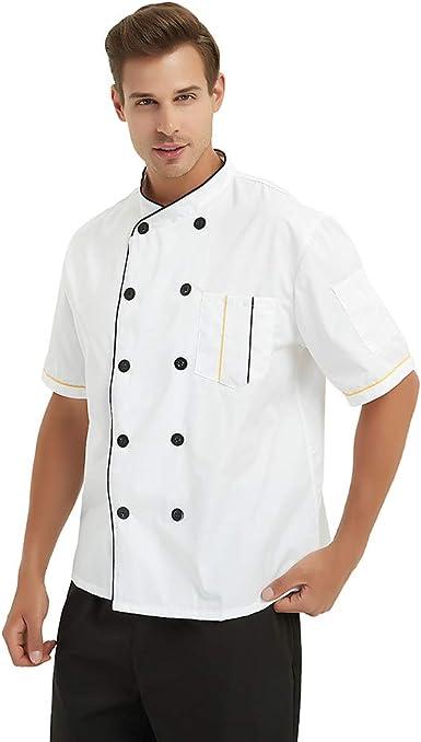 TopTie Chaqueta Chef Manga corta Cocina Cocinero Abrigo Raya Uniformes Blanco XL: Amazon.es: Ropa y accesorios