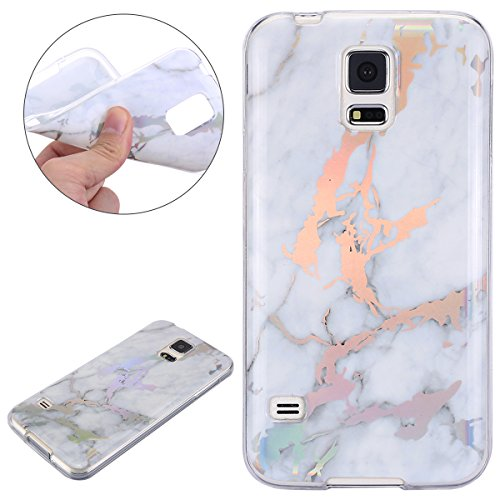 FU Bright IMD White Marble Pattern Design Soft Slim Shockproof Flexible TPU Silicone Rubber Protector Clear Bumper Case Cover for Samsung Galaxy S5 ()