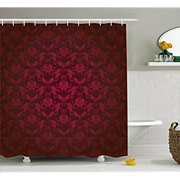 Maroon Shower Curtain By Ambesonne Victorian Damask Pattern With Vignette Effect Royal Revival Ancient Rich