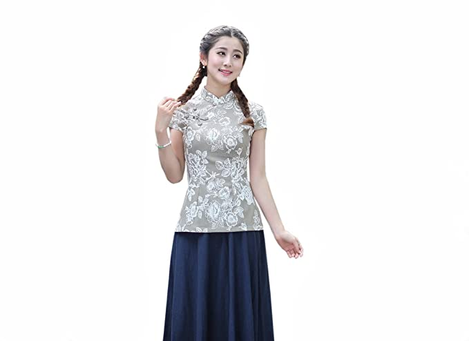 XueXian(TM) Mujer de Tang de Elegante Oriental de Mango Corta de Gris(