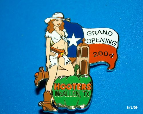 Hooters Restaurant Collectable Enamel Cowgirl Grand Opening Mcallen TX Texas Green Pepper/flag Lapel - Sports Mcallen Tx Mcallen