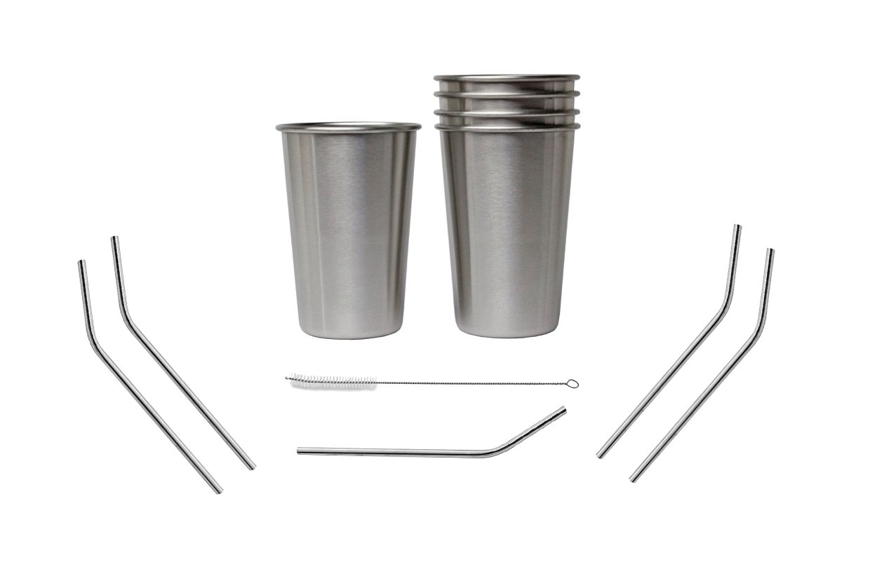 Bundle: Set of 5, 16 Oz Premium Stainless Steel Cups and FREE Straws, Eco-friendly BPA and Lead Free Cups Perfect for Camping Outdoors and Everyday Use Indoors. Includes Bonus Straw Cleaner by At Home Solutions