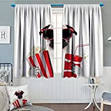 Pug Thermal Insulating Blackout Curtain Going to the Movies Pug Dog Popcorn Soft Drink Movie Star Glasses Animal Fun Image Patterned Drape For Glass Door 72''x84'' Cream Red Black