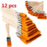 EatingBiting(R)12 Pack of Assorted Size Paint and Chip Paint Brushes for Paint Stains Varnishes Glues Gesso Walls BBQ DIY Brush Bristle Wooden Nylon Brush Painting Beginner Artist