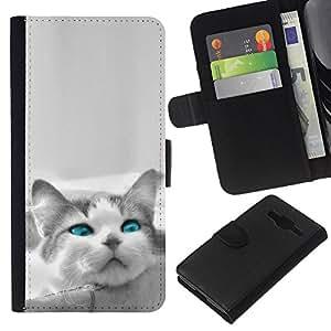 KLONGSHOP // Tirón de la caja Cartera de cuero con ranuras para tarjetas - El azul del ojo de gato - Samsung Galaxy Core Prime //