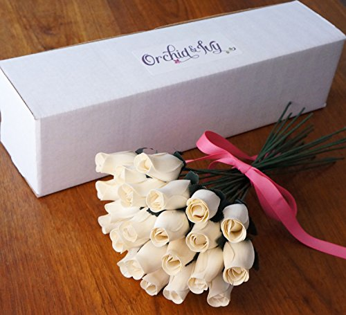 Orchid & Ivy 24 Beautiful Realistic Wooden Roses - White Artificial Flowers - Ivory Romance - Gift Boxed