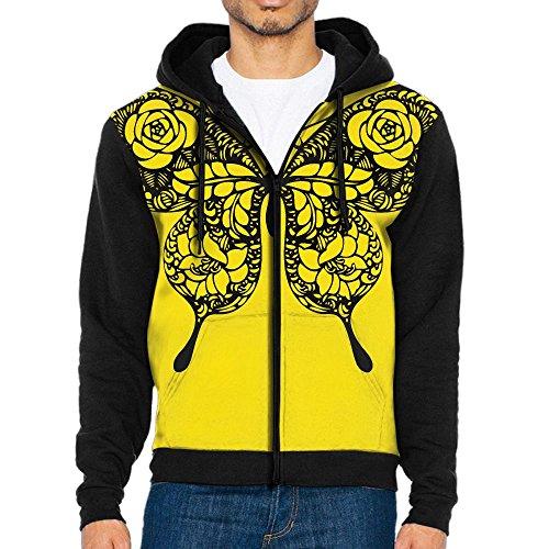 ZXM Hooded Sweatshirt Black Rose Flower Butterfly Nature Men's Full Zip Ultimate Performance Pullover Jacket Hooded Coat