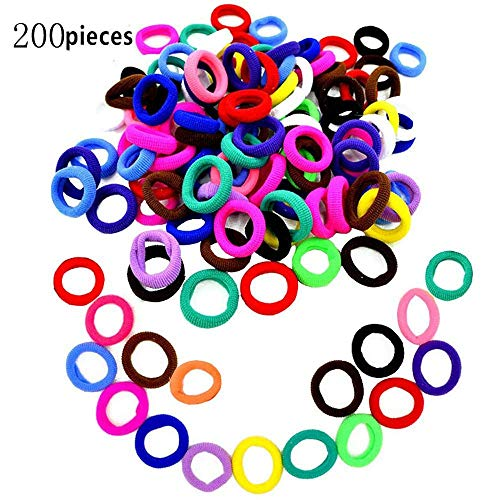 Hair Bands Ties,200pcs Colorful Elastic Rubber Bands Not hurt hair & No Crease Ponytail Holders,Tiny Soft Hair Ties for Toddler Baby Kids (Multi-Colored) ()