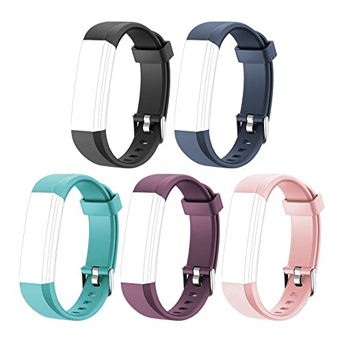 LETSCOM Replacement Bands for Fitness Tracker ID115U or ID115UHR, 5 Pack (Black, Blue, Pink, Purple, Green)