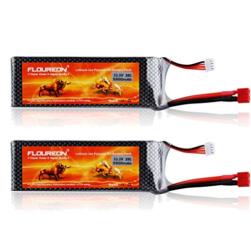 FLOUREON 2Packs 3S 11.1V 5500mAh 35C Lipo RC Battery with T Plug for RC Quadcopter Airplane Helicopter Car Truck Boat Hobby (T ()