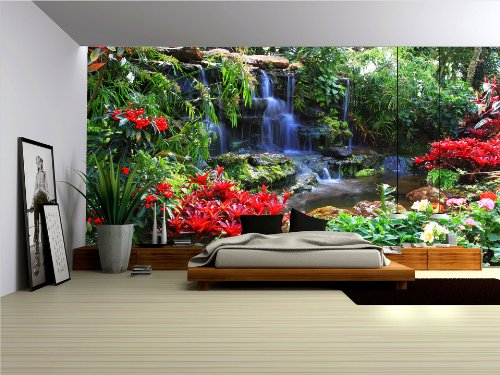 Forest Waterfall Flowers Wallpaper Mural product image
