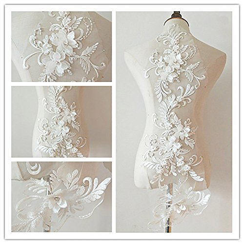 - 3D beaded flower sequence lace applique motif sewing bridal wedding 3in1 20cmx72cm (White)