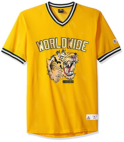 Southpole Men's Short Sleeve Athletic Mesh Jersey T-Shirts, Yellow Tiger, Large