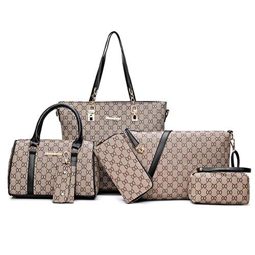 (Tote Handbag Womens Shoulder Bag 6 pack Casual Signature Printing Pu Leather by Yayabb (onesie, 713black))