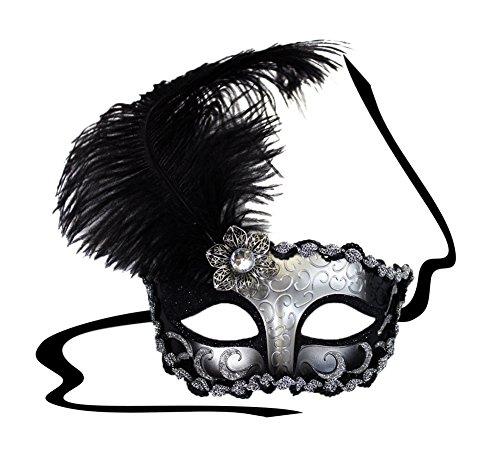 Elegant Masks For Masquerade Ball (Deco Lady Black-Silver Masquerade Mask for Women)