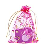 Newest trent Set of 100 Golden Love Heart Organza Drawstring Jewelry Pouches Bag Party Wedding Gift Bags Candy Bag 4X4.7'' - 6 color available