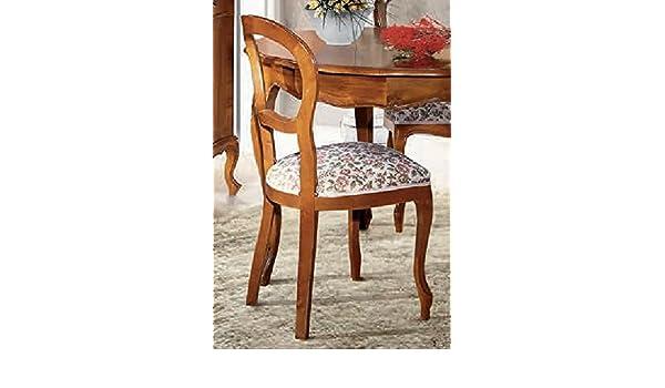 dafnedesign. com - Silla acolchada - Tamaño: Tamaño: L 48 P 47 H 96 H Asiento 49 cm - Bordados estilo clásico - Madera Nogal Envejecido - 100% Made in Italy ...