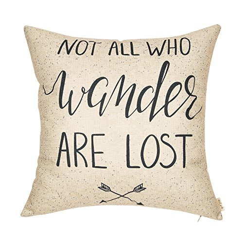 Fjfz Not All Who Wander are Lost Motivational Sign Travel Quote Cotton Linen Home Decorative Throw Pillow Case Cushion Cover with Words Sofa Couch, 18 x 18