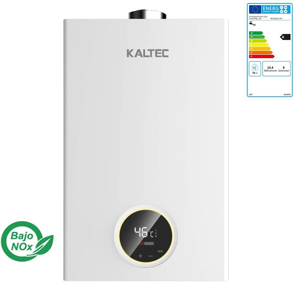 Kaltec KCE12B Calentador de agua a gas GLP (Butano/Propano) Automático LED Digital Calentador de Agua Instantáneo Propane 12L [Clase de eficiencia energética A]