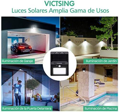 VICTSING Luz Solar LED,20 LEDs Foco Solar Exterior,Tasa de Conversión de Energía Hasta 21%, 120° Sensor de Movimiento,Lampara Solar de Jardin Impermeable para Jardín,Garaje,Camino,4 Piezas: Amazon.es: Hogar