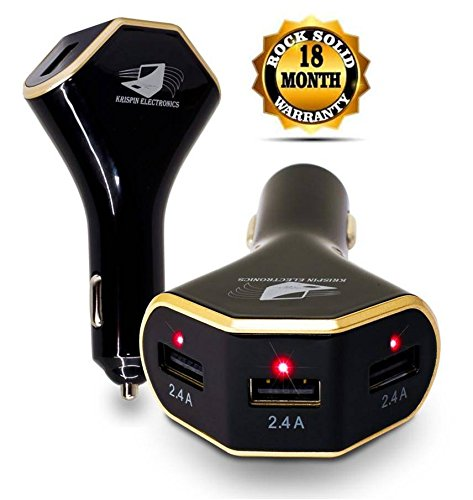 TripleBooster 7.2A/36W 3 Port Universal Car Charger with 3 USB Cables and Storage Bag