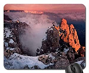 fantastic mountain view at sunrise Mouse Pad, Mousepad (Mountains Mouse Pad, Watercolor style) by runtopwell