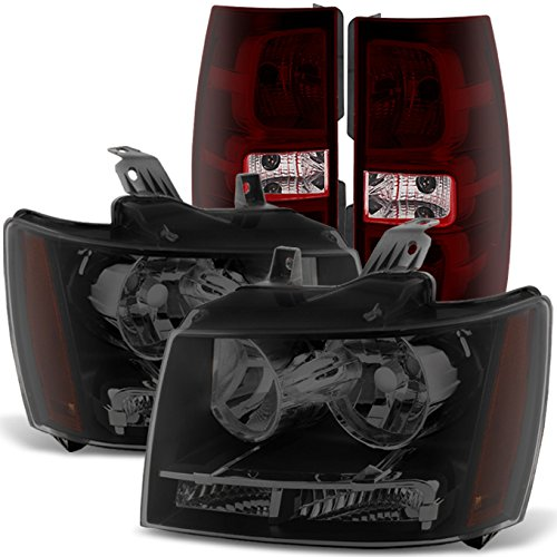 - For 07-14 Chevy Suburban 1500 2500 Tahoe Smoked Lens Headlights + Red Tail light Lamps Combo